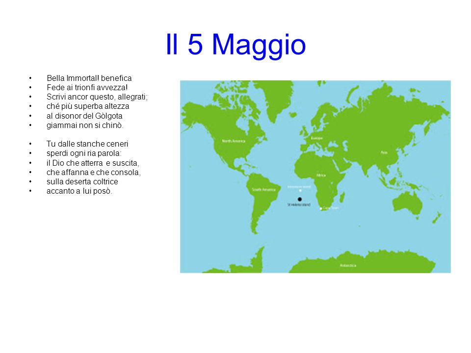 Il 5 Maggio Bella Immortal! benefica Fede ai trionfi avvezza!