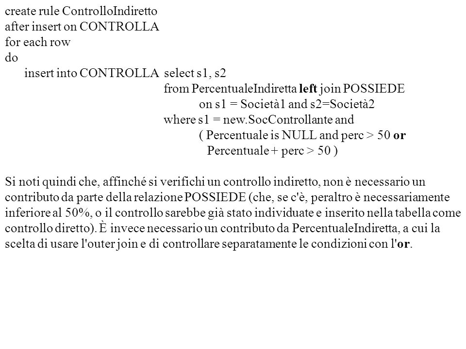 create rule ControlloIndiretto