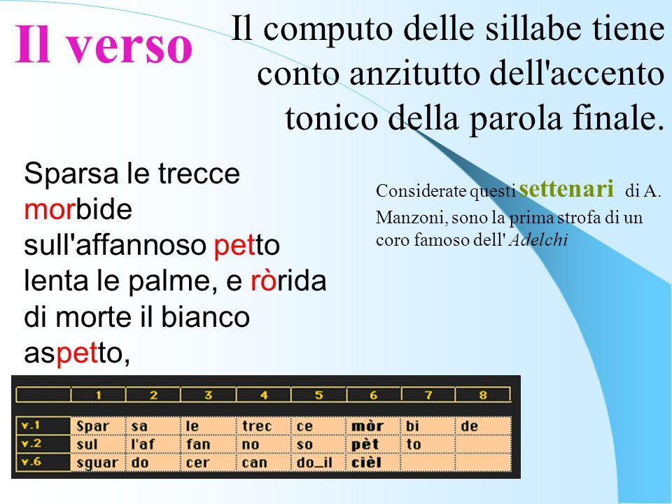 Il verso Il computo delle sillabe tiene conto anzitutto dell accento tonico della parola finale. Sparsa le trecce morbide.
