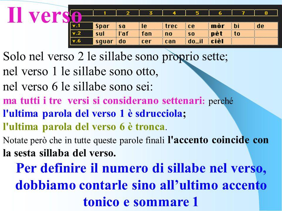 Il verso Solo nel verso 2 le sillabe sono proprio sette; nel verso 1 le sillabe sono otto, nel verso 6 le sillabe sono sei: