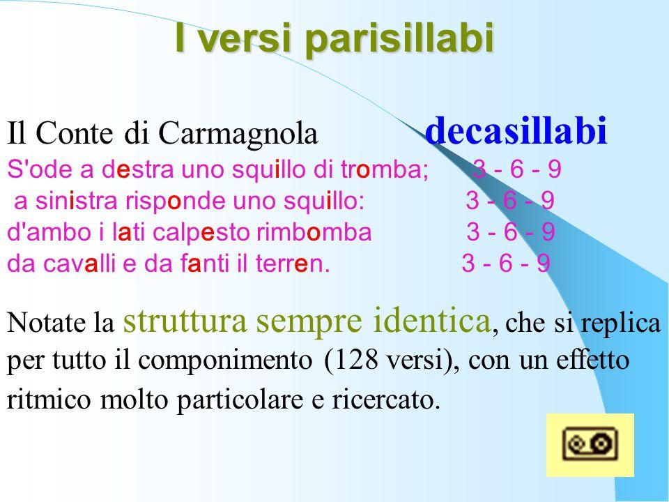 I versi parisillabi Il Conte di Carmagnola decasillabi