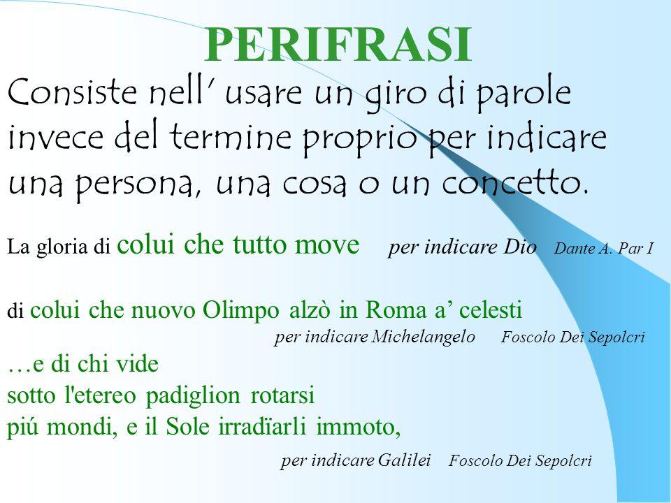PERIFRASI Consiste nell usare un giro di parole invece del termine proprio per indicare una persona, una cosa o un concetto.