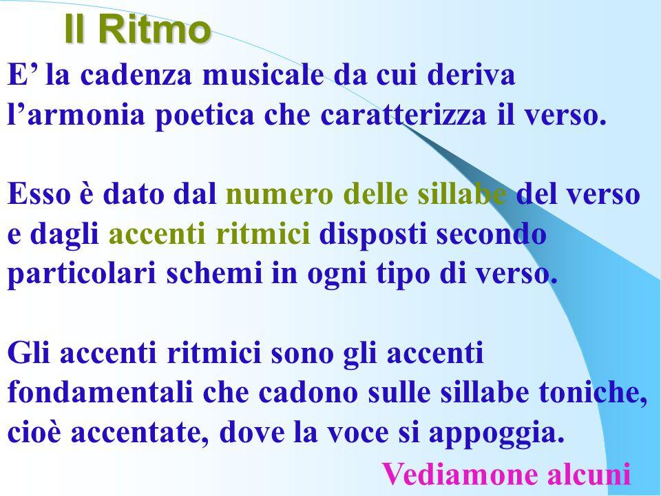 Il Ritmo E' la cadenza musicale da cui deriva l'armonia poetica che caratterizza il verso.