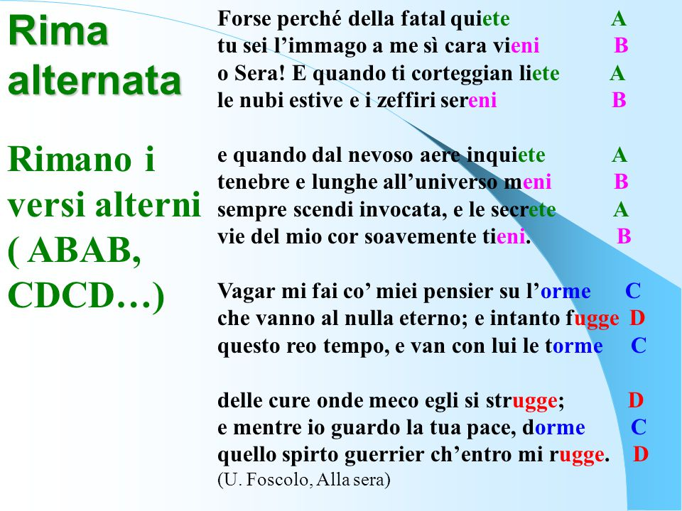 Rima alternata Rimano i versi alterni ( ABAB, CDCD…)