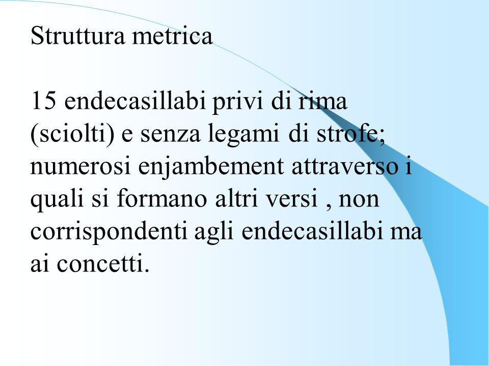 Struttura metrica 15 endecasillabi privi di rima (sciolti) e senza legami di strofe;