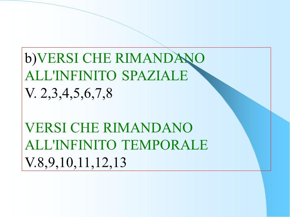 b)VERSI CHE RIMANDANO ALL INFINITO SPAZIALE. V. 2,3,4,5,6,7,8. VERSI CHE RIMANDANO ALL INFINITO TEMPORALE.