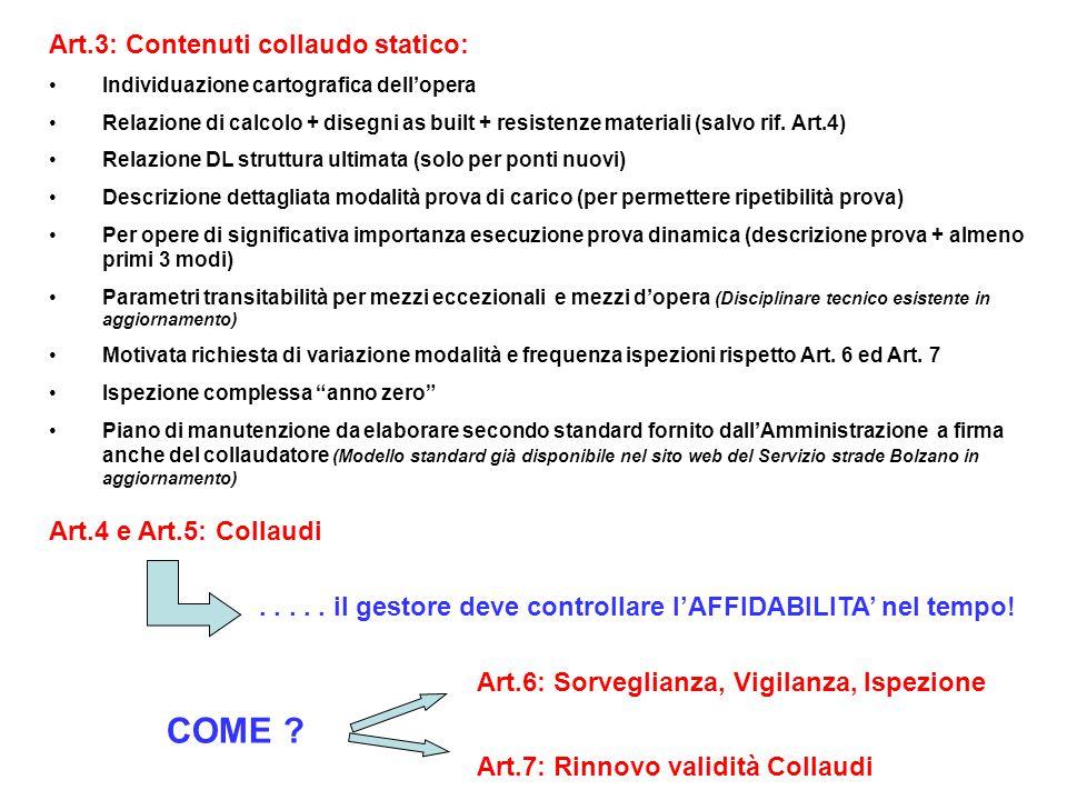 COME Art.3: Contenuti collaudo statico: Art.4 e Art.5: Collaudi