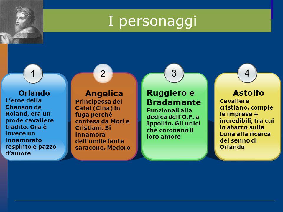 I personaggi 1 2 3 4 Angelica Ruggiero e Bradamante Astolfo Orlando