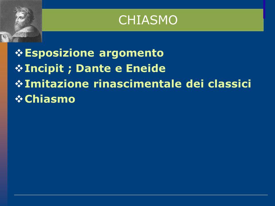 CHIASMO Esposizione argomento Incipit ; Dante e Eneide