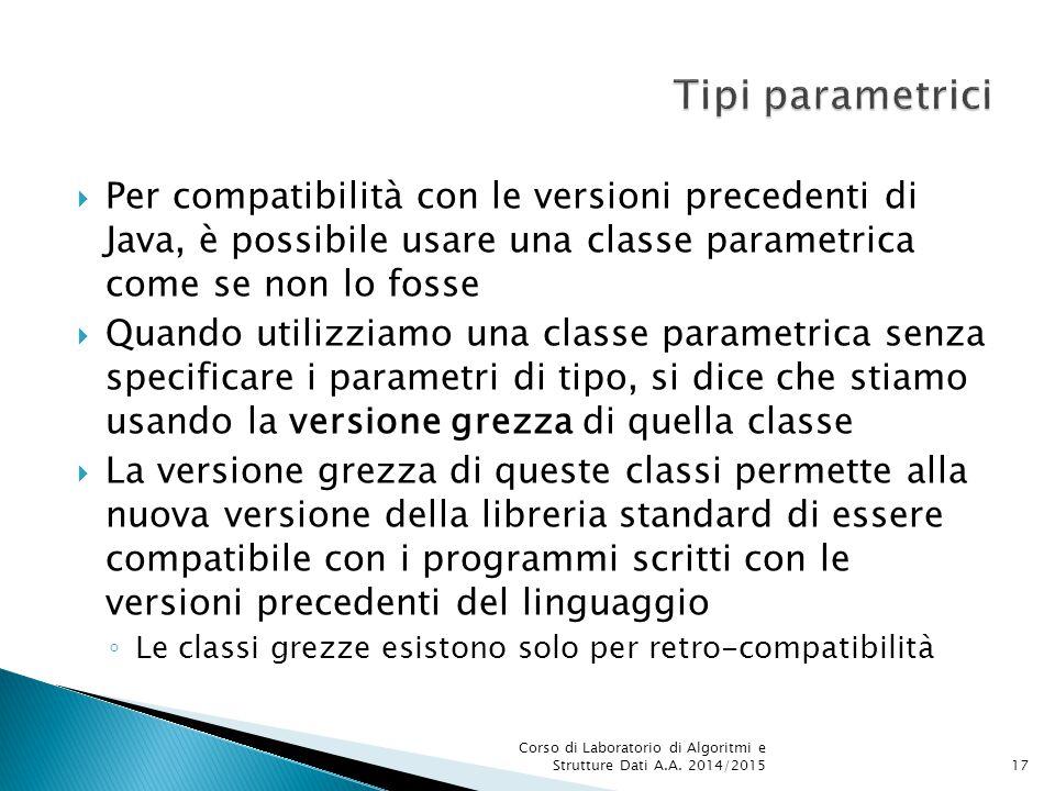 Tipi parametrici Per compatibilità con le versioni precedenti di Java, è possibile usare una classe parametrica come se non lo fosse.