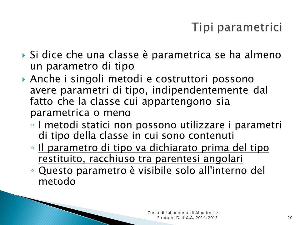 Tipi parametrici Si dice che una classe è parametrica se ha almeno un parametro di tipo.