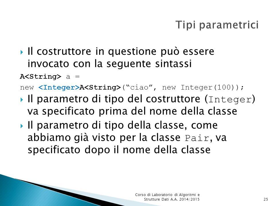 Tipi parametrici Il costruttore in questione può essere invocato con la seguente sintassi. A<String> a =