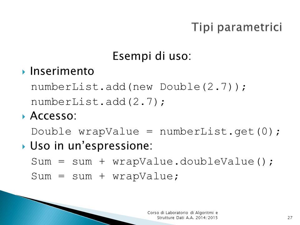 Tipi parametrici Esempi di uso: Inserimento
