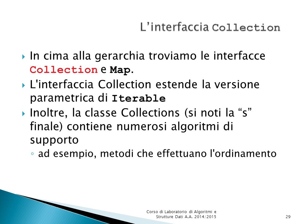 L'interfaccia Collection