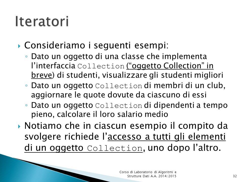 Iteratori Consideriamo i seguenti esempi: