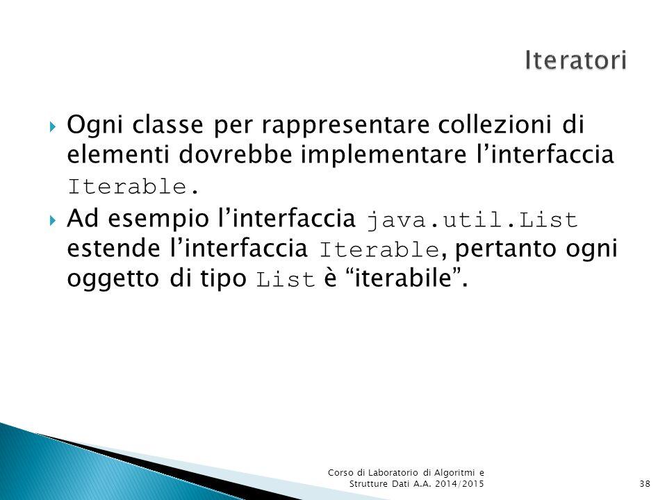 Iteratori Ogni classe per rappresentare collezioni di elementi dovrebbe implementare l'interfaccia Iterable.