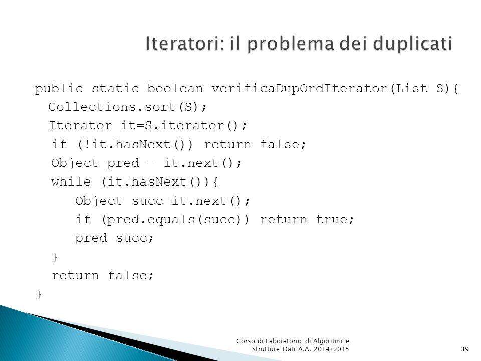 Iteratori: il problema dei duplicati