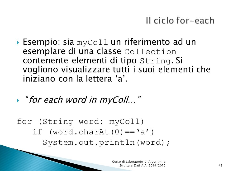 Il ciclo for-each