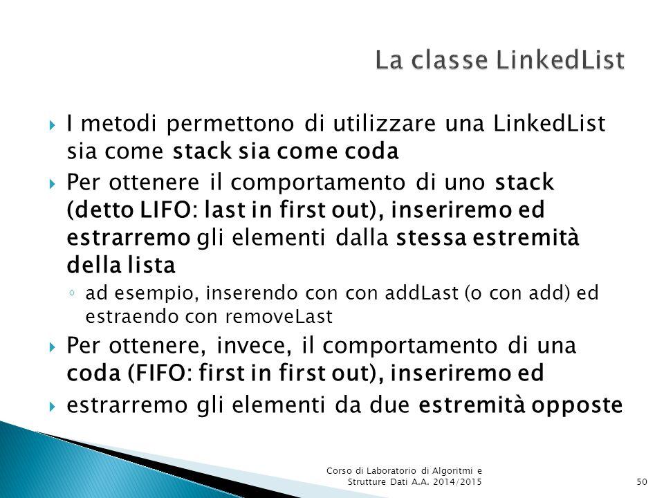 La classe LinkedList I metodi permettono di utilizzare una LinkedList sia come stack sia come coda.