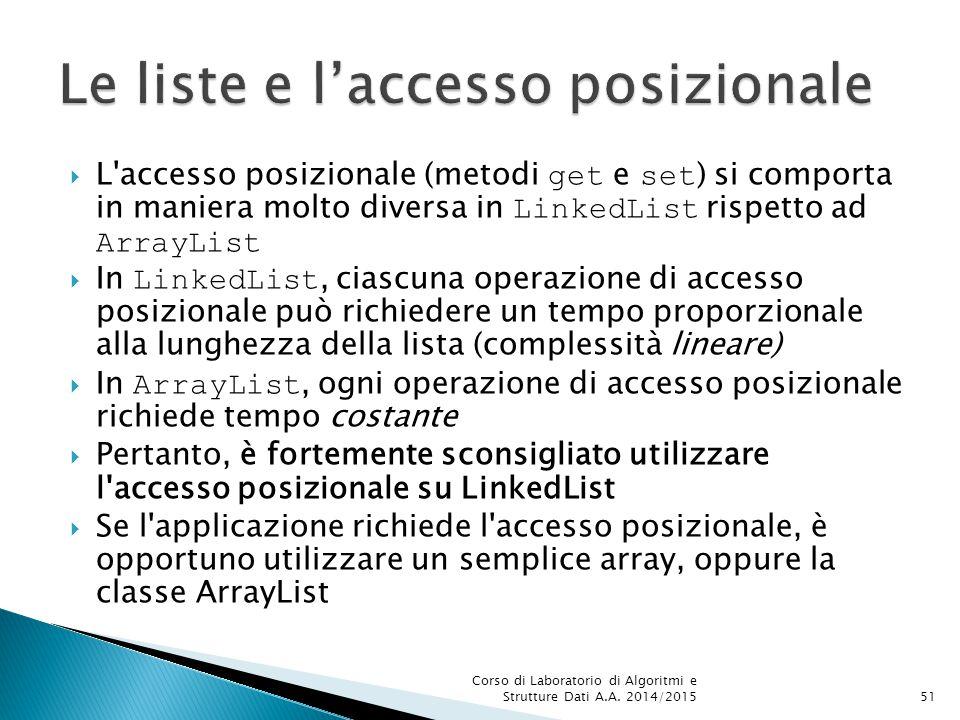 Le liste e l'accesso posizionale