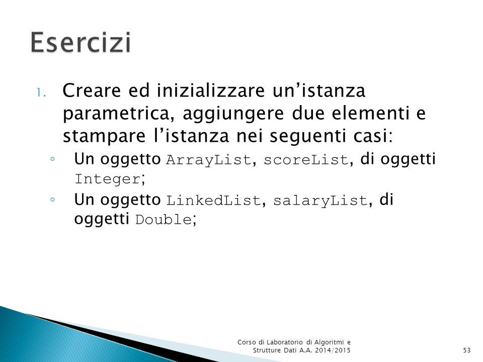 Esercizi Creare ed inizializzare un'istanza parametrica, aggiungere due elementi e stampare l'istanza nei seguenti casi: