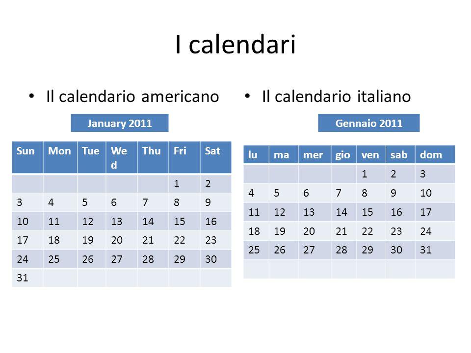 I calendari Il calendario americano Il calendario italiano