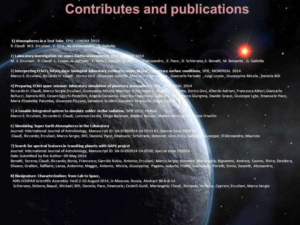Contributes and publications
