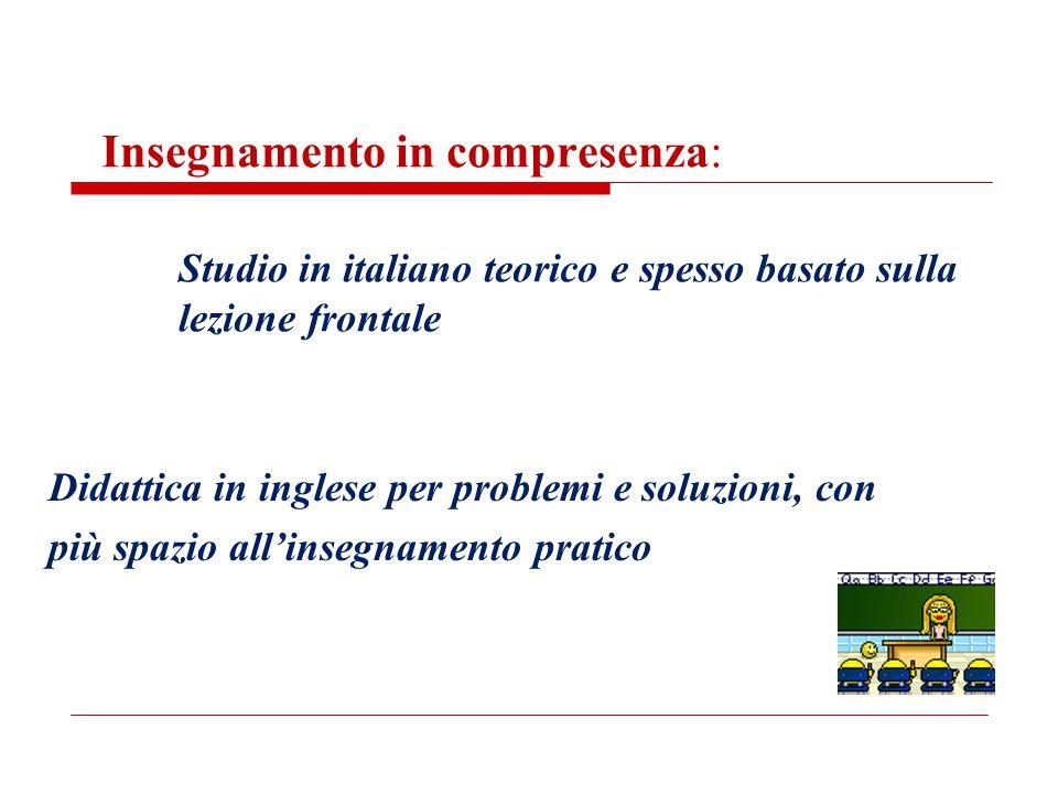 Insegnamento in compresenza: Studio in italiano teorico e spesso basato sulla lezione frontale
