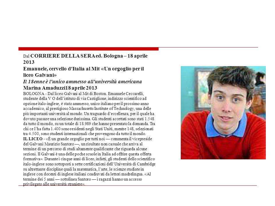Emanuele, cervello d Italia al Mit «Un orgoglio per il liceo Galvani»