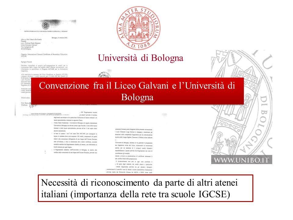 Convenzione con l'Università di Bologna
