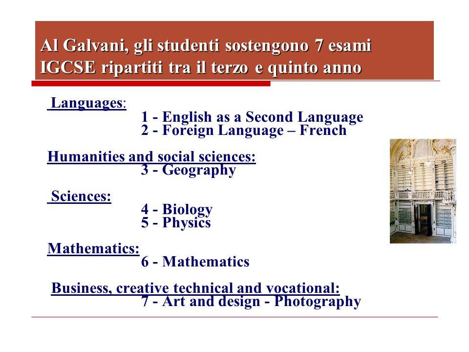 Al Galvani, gli studenti sostengono 7 esami IGCSE ripartiti tra il terzo e quinto anno