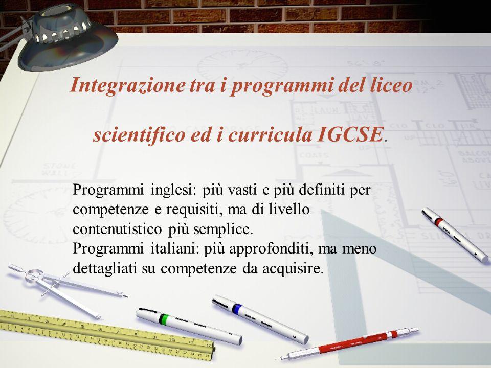 Integrazione tra i programmi del liceo scientifico ed i curricula IGCSE.