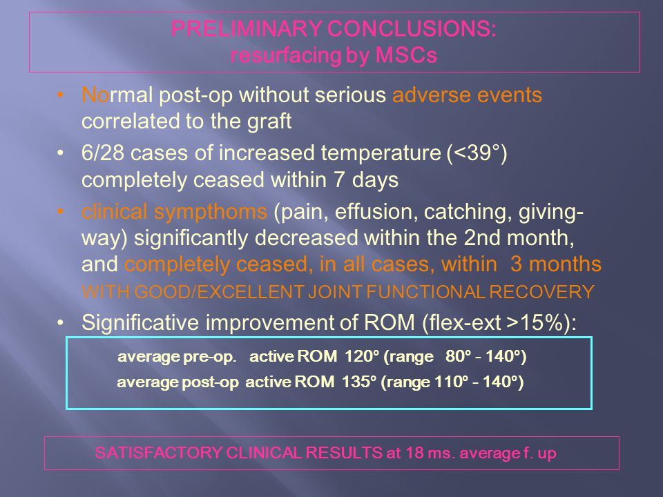 PRELIMINARY CONCLUSIONS: resurfacing by MSCs
