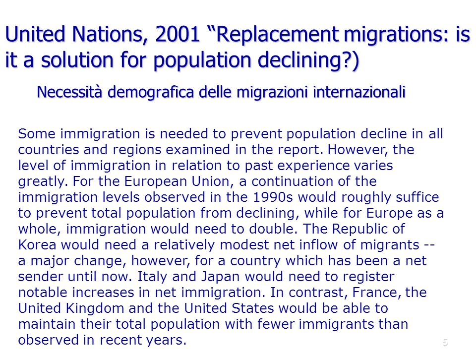 United Nations, 2001 Replacement migrations: is it a solution for population declining )