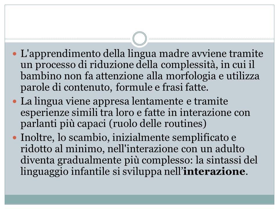 L apprendimento della lingua madre avviene tramite un processo di riduzione della complessità, in cui il bambino non fa attenzione alla morfologia e utilizza parole di contenuto, formule e frasi fatte.