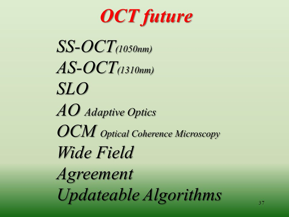 OCT future SS-OCT(1050nm) AS-OCT(1310nm) SLO AO Adaptive Optics