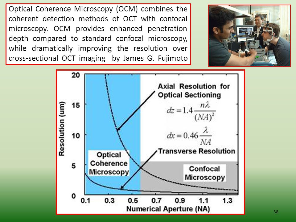 Optical Coherence Microscopy (OCM) combines the coherent detection methods of OCT with confocal microscopy.
