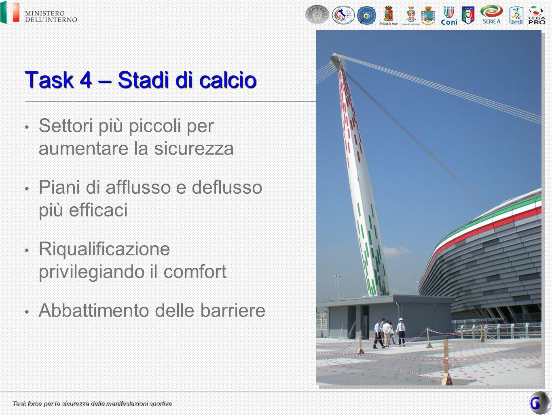 Task 4 – Stadi di calcio Settori più piccoli per aumentare la sicurezza. Piani di afflusso e deflusso più efficaci.