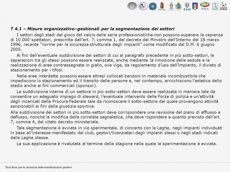 T 4.1 – Misure organizzativo–gestionali per la segmentazione dei settori