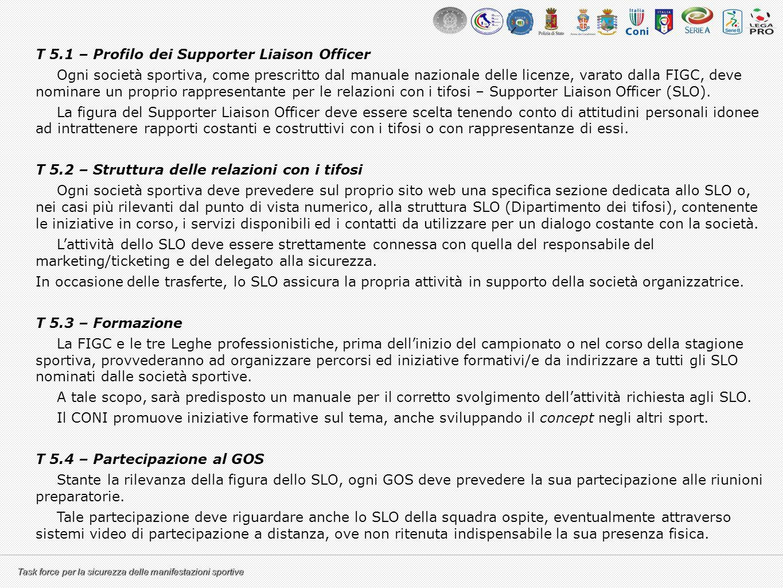 T 5.1 – Profilo dei Supporter Liaison Officer