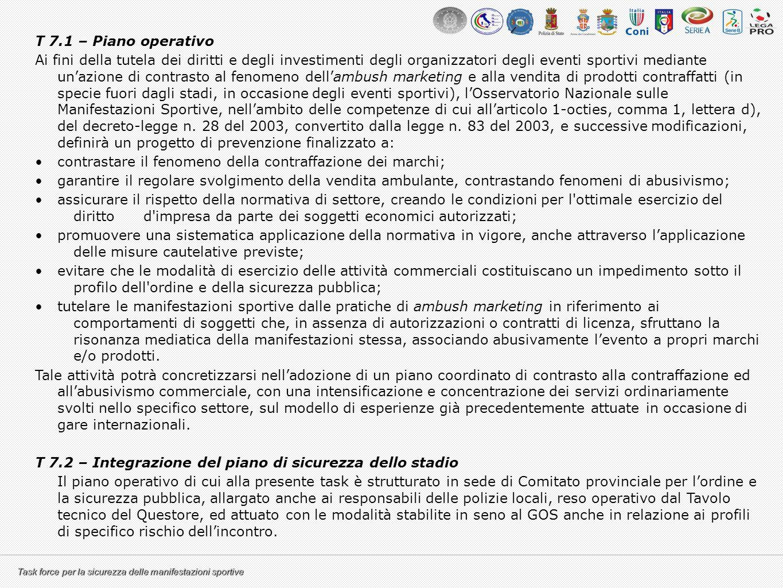 T 7.1 – Piano operativo