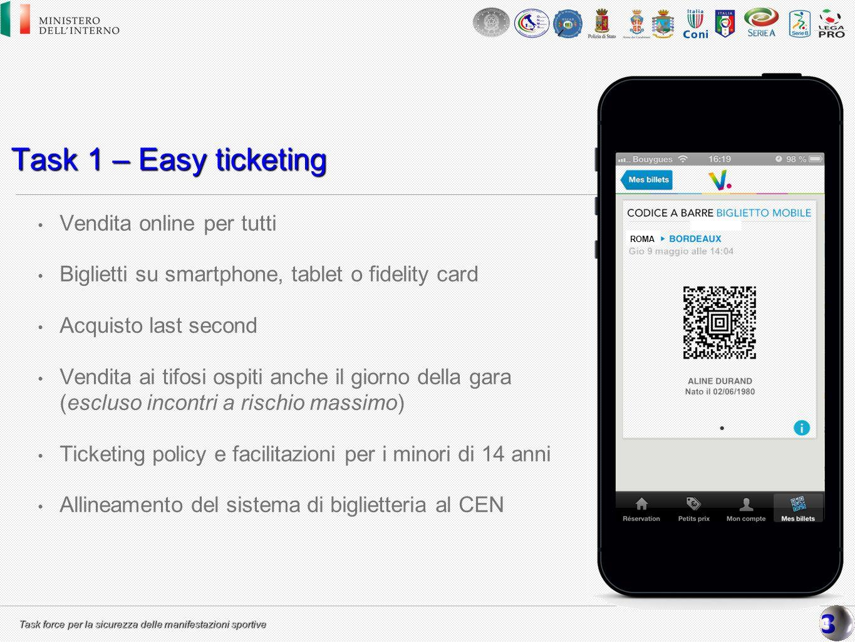 Task 1 – Easy ticketing Vendita online per tutti
