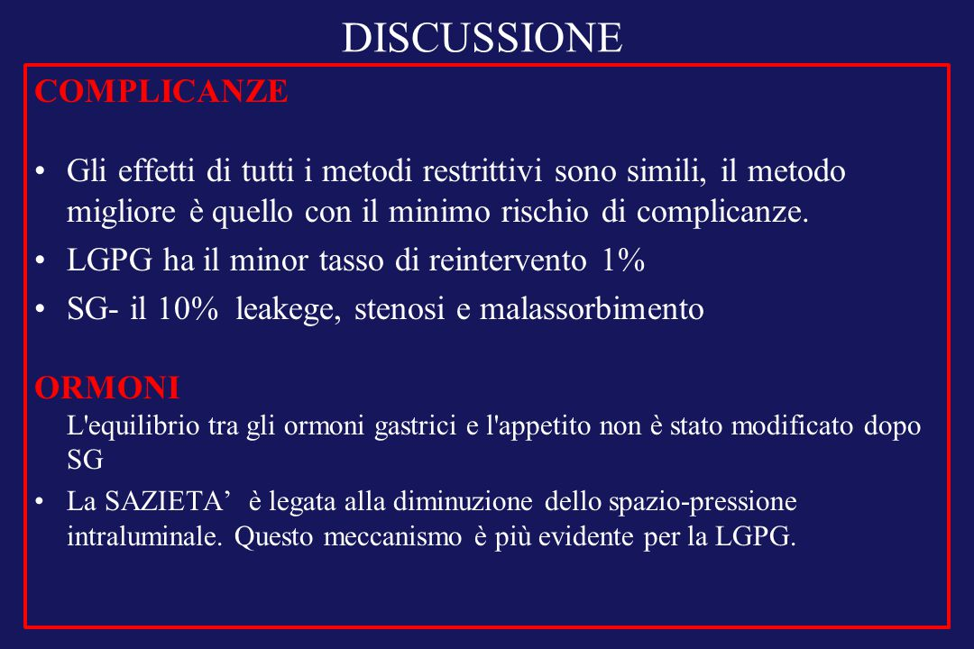 DISCUSSIONE COMPLICANZE