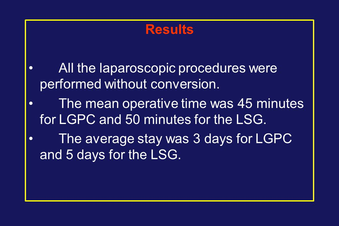 Results All the laparoscopic procedures were performed without conversion.