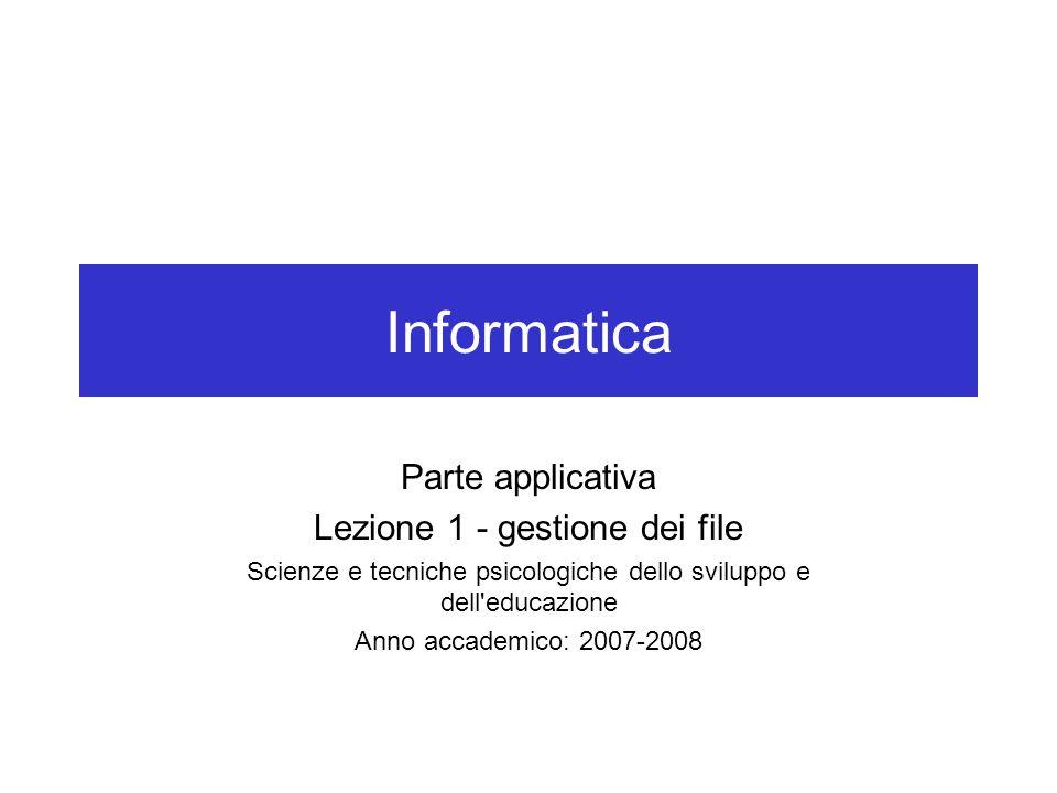 Informatica Parte applicativa Lezione 1 - gestione dei file
