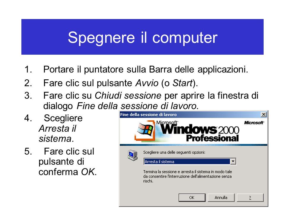 Spegnere il computer Portare il puntatore sulla Barra delle applicazioni. Fare clic sul pulsante Avvio (o Start).