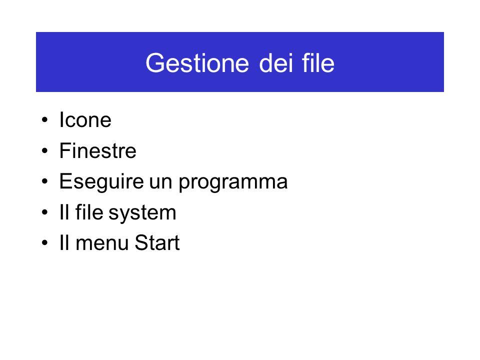 Gestione dei file Icone Finestre Eseguire un programma Il file system