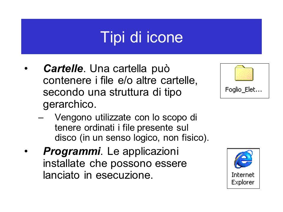 Tipi di icone Cartelle. Una cartella può contenere i file e/o altre cartelle, secondo una struttura di tipo gerarchico.
