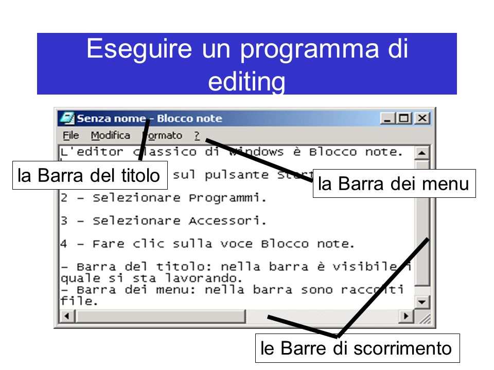 Eseguire un programma di editing