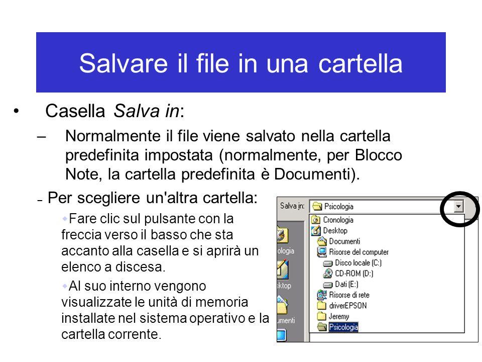 Salvare il file in una cartella